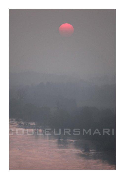 Photos de la Loire au lever du jour, Photos de la Loire entre Champtoceaux et Oudon, Photos de la Loire dans la brume, Erik Brin, Photographe à Champtoceaux