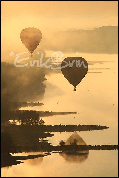 Photos, vol de montgolfières sur la Loire entre Champtoceaux et Oudon. Erik Brin, photographe de Loire