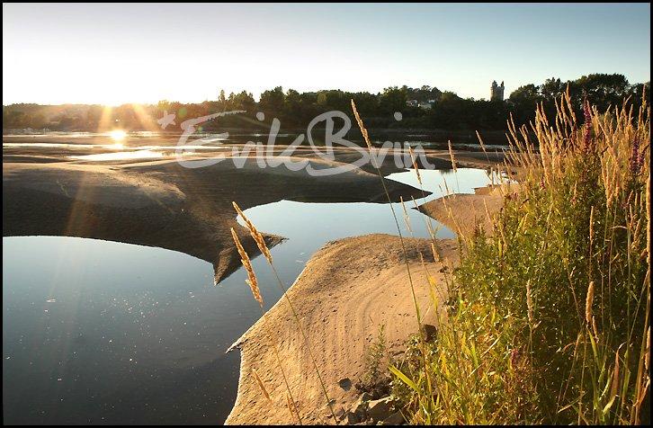 La Loire et ses bancs de sable au coucher du soleil, photos de la Loire en Loire Atlantique prés de Oudon