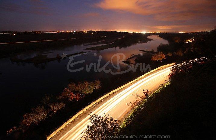 Photos de nuit, paysage, les bords de la Loire la nuit. Photos de nuit par Erik Brin, photographe de Loire à Champtoceaux, Maine et Loire