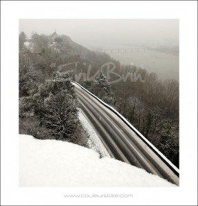 La Loire sous la neige du côté de Champtoceaux