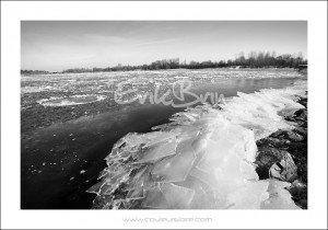 La Loire gelée, des blocs de glace sur la Loire